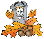 Clip Art Graphic of a Metal Trash Can Cartoon Character With Autumn Leaves and Acorns in the Fall