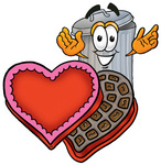 Clip Art Graphic of a Metal Trash Can Cartoon Character With an Open Box of Valentines Day Chocolate Candies