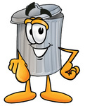 Clip Art Graphic of a Metal Trash Can Cartoon Character Pointing at the Viewer