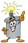 Clip Art Graphic of a Metal Trash Can Cartoon Character With a Bright Idea