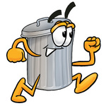 Clip Art Graphic of a Metal Trash Can Cartoon Character Running