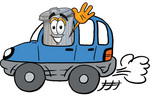 Clip Art Graphic of a Metal Trash Can Cartoon Character Driving a Blue Car and Waving