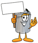 Clip Art Graphic of a Metal Trash Can Cartoon Character Holding a Blank Sign