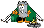 Clip Art Graphic of a Metal Trash Can Cartoon Character Camping With a Tent and Fire