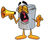 Clip Art Graphic of a Metal Trash Can Cartoon Character Screaming Into a Megaphone
