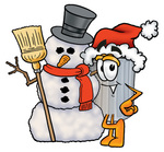 Clip Art Graphic of a Metal Trash Can Cartoon Character With a Snowman on Christmas