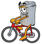Clip Art Graphic of a Metal Trash Can Cartoon Character Riding a Bicycle