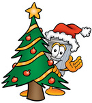 Clip Art Graphic of a Metal Trash Can Cartoon Character Waving and Standing by a Decorated Christmas Tree