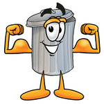 Clip Art Graphic of a Metal Trash Can Cartoon Character Flexing His Arm Muscles