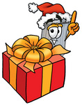 Clip Art Graphic of a Metal Trash Can Cartoon Character Standing by a Christmas Present