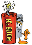 Clip Art Graphic of a Metal Trash Can Cartoon Character Standing With a Lit Stick of Dynamite