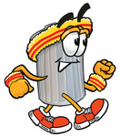 Clip Art Graphic of a Metal Trash Can Cartoon Character Speed Walking or Jogging