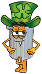 Clip Art Graphic of a Metal Trash Can Cartoon Character Wearing a Saint Patricks Day Hat With a Clover on it