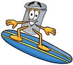 Clip Art Graphic of a Metal Trash Can Cartoon Character Surfing on a Blue and Yellow Surfboard
