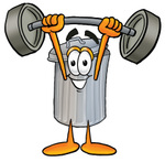 Clip Art Graphic of a Metal Trash Can Cartoon Character Holding a Heavy Barbell Above His Head