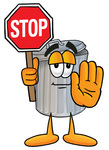 Clip Art Graphic of a Metal Trash Can Cartoon Character Holding a Stop Sign