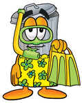 Clip Art Graphic of a Metal Trash Can Cartoon Character in Green and Yellow Snorkel Gear