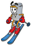 Clip Art Graphic of a Metal Trash Can Cartoon Character Skiing Downhill