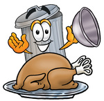 Clip Art Graphic of a Metal Trash Can Cartoon Character Serving a Thanksgiving Turkey on a Platter