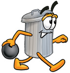 Clip Art Graphic of a Metal Trash Can Cartoon Character Holding a Bowling Ball