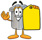 Clip Art Graphic of a Metal Trash Can Cartoon Character Holding a Yellow Sales Price Tag