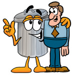 Clip Art Graphic of a Metal Trash Can Cartoon Character Talking to a Business Man