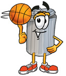 Clip Art Graphic of a Metal Trash Can Cartoon Character Spinning a Basketball on His Finger