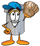 Clip Art Graphic of a Metal Trash Can Cartoon Character Catching a Baseball With a Glove