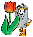 Clip Art Graphic of a Metal Trash Can Cartoon Character With a Red Tulip Flower in the Spring