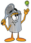 Clip Art Graphic of a Metal Trash Can Cartoon Character Preparing to Hit a Tennis Ball