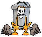 Clip Art Graphic of a Metal Trash Can Cartoon Character Lifting a Heavy Barbell