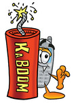 Clip Art Graphic of a Gray Cell Phone Cartoon Character Standing With a Lit Stick of Dynamite