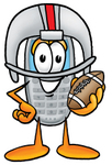 Clip Art Graphic of a Gray Cell Phone Cartoon Character in a Helmet, Holding a Football