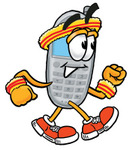 Clip Art Graphic of a Gray Cell Phone Cartoon Character Speed Walking or Jogging
