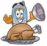 Clip Art Graphic of a Gray Cell Phone Cartoon Character Serving a Thanksgiving Turkey on a Platter