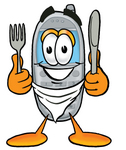 Clip Art Graphic of a Gray Cell Phone Cartoon Character Holding a Knife and Fork