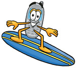 Clip Art Graphic of a Gray Cell Phone Cartoon Character Surfing on a Blue and Yellow Surfboard