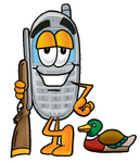 Clip Art Graphic of a Gray Cell Phone Cartoon Character Duck Hunting, Standing With a Rifle and Duck