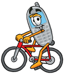 Clip Art Graphic of a Gray Cell Phone Cartoon Character Riding a Bicycle