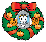 Clip Art Graphic of a Gray Cell Phone Cartoon Character in the Center of a Christmas Wreath