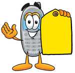 Clip Art Graphic of a Gray Cell Phone Cartoon Character Holding a Yellow Sales Price Tag