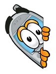 Clip Art Graphic of a Gray Cell Phone Cartoon Character Peeking Around a Corner