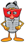 Clip Art Graphic of a Gray Cell Phone Cartoon Character Wearing a Red Mask Over His Face
