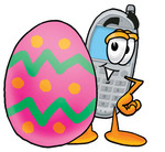 Clip Art Graphic of a Gray Cell Phone Cartoon Character Standing Beside an Easter Egg