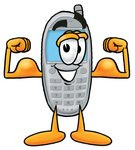 Clip Art Graphic of a Gray Cell Phone Cartoon Character Flexing His Arm Muscles