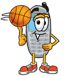 Clip Art Graphic of a Gray Cell Phone Cartoon Character Spinning a Basketball on His Finger