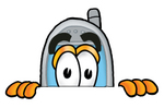 Clip Art Graphic of a Gray Cell Phone Cartoon Character Peeking Over a Surface