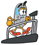 Clip Art Graphic of a Gray Cell Phone Cartoon Character Walking on a Treadmill in a Fitness Gym