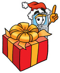 Clip Art Graphic of a Gray Cell Phone Cartoon Character Standing by a Christmas Present