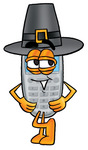 Clip Art Graphic of a Gray Cell Phone Cartoon Character Wearing a Pilgrim Hat on Thanksgiving